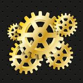 Golden gears background — Stock Vector