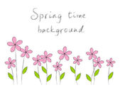 Spring background with doodle pink flowers — Stock Vector