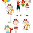 图库矢量图片: Set of holiday funny children