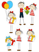 Set of holiday funny children — Vector de stock