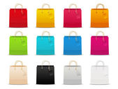 Set of 12 color shopping bags — Vettoriale Stock