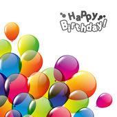 Tarjeta del feliz cumpleaños con globos — Vector de stock