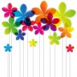 Stock Vector: Rainbow flowers