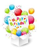 Birthday gift box with balloons — Stock Vector