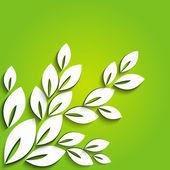 Kağıt ağaç yeşil zemin üzerine — Stok Vektör