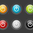 Set of vector power buttons — Imagen vectorial