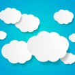 White paper clouds background with place for text — Stock Vector