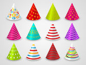 Set of party paper hats — Stock Vector