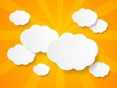 Witboek wolken achtergrond met plaats voor tekst — Stockvector
