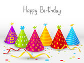 Birthday hats background with place for text — Vector de stock