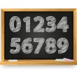 Vector de stock : School blackboard with drawing numbers