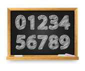 School blackboard with drawing numbers — Stockvector