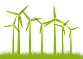 Eco wind turbines on green grass — Stock Vector