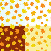 Set of autumnal seamless patterns — Stock Vector