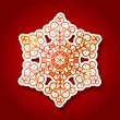 Paper snowflake on red background — Stockvektor