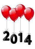 New Year concept - balloons with number 2014 — Stok Vektör