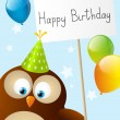 Birthday card with cute owl — Stock Vector