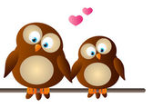 Cute cartoon owls in love — Stock Vector