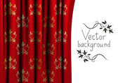 Vector illustration of red curtain — ストックベクタ