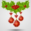 Christmas icon with red balls — Imagen vectorial