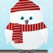 Cute snowy owl on winter background — Imagen vectorial