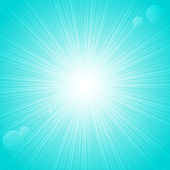 Sunny rays on blue backgrund — Stock Vector
