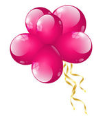 Pink balloons with golden ribbons — Vecteur
