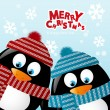 Stock Vector: Two penguins on winter background