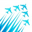 Blue airplanes silhouettes on white — Vettoriale Stock #32592795
