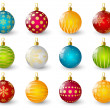 Set of color Christmas balls  — Stock Vector