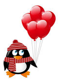Cute penguin with red balloons — Vettoriale Stock