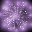 Shiny firework on purple background — Stock Vector