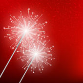 Starry sparklers on red background — Stock Vector