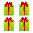 Set of green gift boxes — Stock Vector