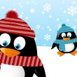 Cute penguins on winter background — Stock Vector