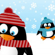 Cute penguins on winter background — Imagen vectorial