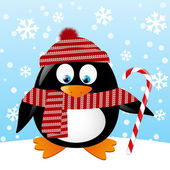 Cute penguin with Christmas candy — Stock Vector