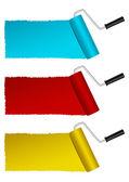 Set di rulli di vernice di colore — Vettoriale Stock