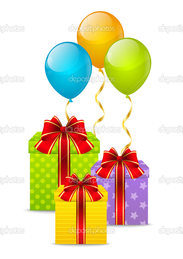 Birthday Gifts With Color Balloons Stock Vector