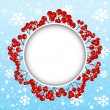 Red rowan frame on winter background — Stock vektor