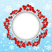 Red rowan frame on winter background — Stock Vector