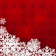 White Christmas snowflakes on red — Imagen vectorial