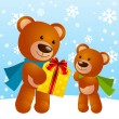 Cute Christmas teddy bear — Stock Vector