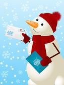 Funny snowman — Stock Vector