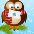 owl with Christmas mail — Stock Vector