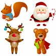 Set of Christmas cartoon characters — Stok Vektör