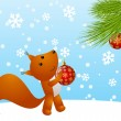 Funny squirrel with Christmas tree — Stok Vektör