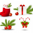Set of vector Christmas icons on white — Imagens vectoriais em stock