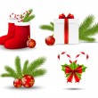 Set of vector Christmas icons on white — Stock Vector