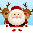Cute Santa with funny deers — Stock vektor